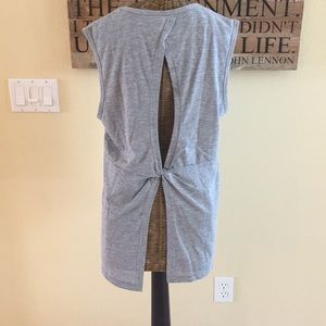Fabletics Gray Back Twist Tank L